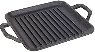 Lodge Chef Collection 11 Inch Cast Iron Chef Style Square Grill Pan. Ergonomic Handles, Grill Lines and Seasoning Are Read...