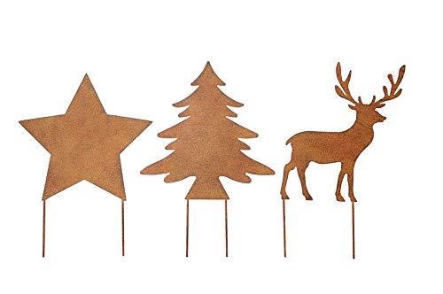 Stern / Baum / Hirsch zum Stecken 3er Set