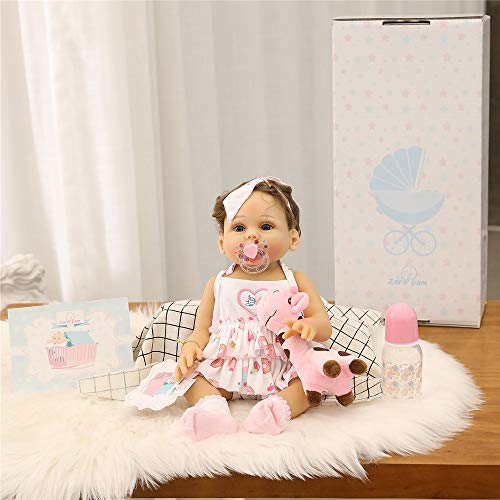 Zero Pam Life Like Anatomically Correct Girl Reborn Baby Dolls Silicone Full Body 18 inch 45cm Real Newborn Bebe Doll Curly Hair Can Bath with