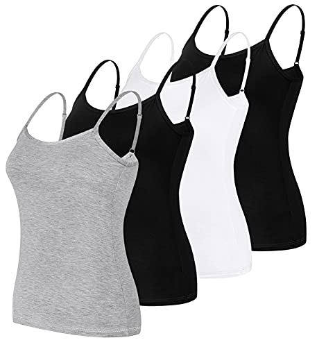 Básicas Camiseta Sin Mangas con Tirantes Mujer Ajustables con Camisolas Sólida Mujer Verano Tops Shirts Chaleco de Espaguetis