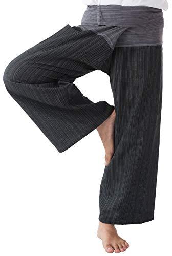 kittiya 2 TONE Thai Fisherman Pants Yoga Trousers FREE SIZE Plus Size Cotton Drill Striped Charcoal and Gray