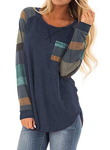 Sudetoil Langarmshirt Sport Sweatshirt Oberteile Damen Langarm Elegant Rundhals Gestreift Pullover Frauen Casual Patchwork Tops (A-Marineblau,XL)