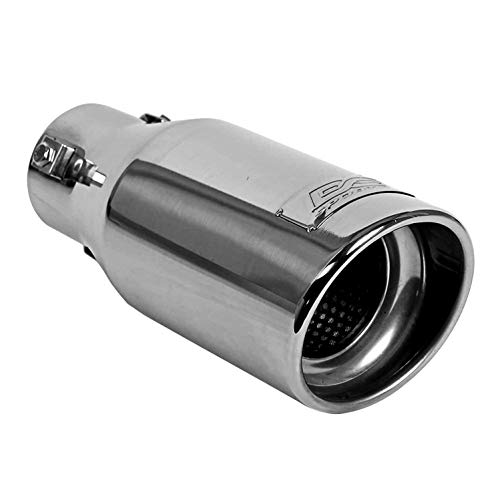 DC Sports EX-1012 Performance Bolt-On Resonated Exhaust Tip with Clamps and Adapters for Universal Fitment on Most Cars, Sedans, and Trucks – Polished Stainless Steel