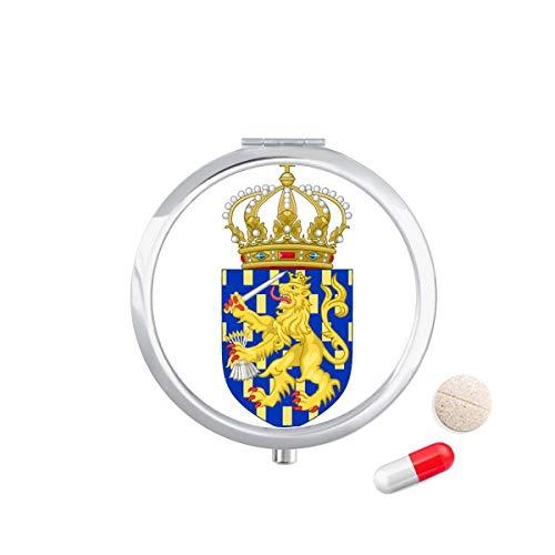 DIYthinker Nederlands Europe Nationaal embleem Travel Pocket Pill Case Medicine Drug Opbergdoos Dispenser Spiegel Gift