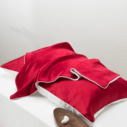 Funda de almohada de color puro de seda de morera 100% natural, buena para la salud del cabello y la piel, tipo sobre de borde de una sola cara de 19 mm, tamaño estándar de 1 pieza 50 x 75 cm