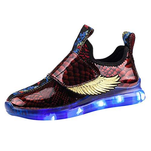 Riou LED Leuchtschuhe Kinder Jungen Blinkende Sneaker mit Licht Flügel Straßentanz Hip Hop Flache Klettverschluss Bunte Helle Schuhe Sportschuhe Turnschuh
