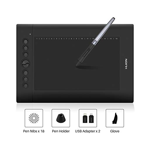 comparateur Nouvelle tablette à stylet HUION H610Pro V2 10 x 6,25 pouces avec stylet sans batterie et fonction d'inclinaison du stylet 8 combinaisons de touches et 16 touches de fonction – Introduction