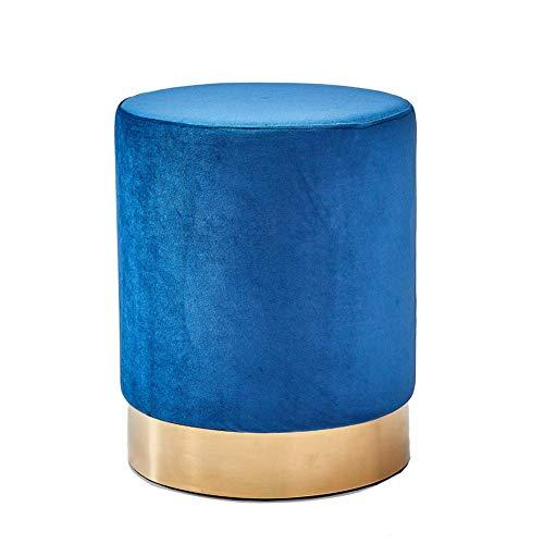 Samt Runde Fußstütze Hocker Osmanisch moderne gepolsterte gepolsterte Vanity Pouffe Hocker Dressing Stuhl Beistelltisch Sitz mit vergoldeter Basis für Schlafzimmer Wohnzimmer (blau)
