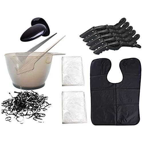 8pcs ensemble d'outils de teinture des cheveux gants de bonnet de douche jetables bol de teinture des cheveux Ensemble d'outils de coloration de cheveux jetables