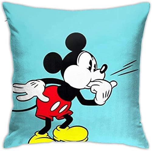 KINGAM Fundas de almohada de Mickey Mouse Funda de cojín para sofá cama, silla, decoración del hogar (45 x 45 cm)