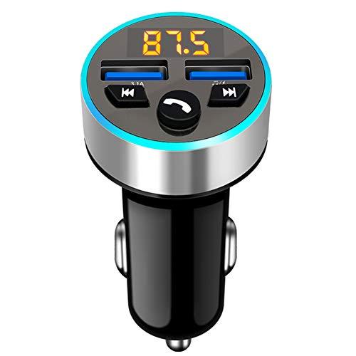 iSpchen Cargador de Coche USB, Transmisor de Modulación de Frecuencia Bluetooth Adaptador de Radio Inalámbrico Para Coche Reproductor de Música Kit Manos Libres Adaptador de Cargador
