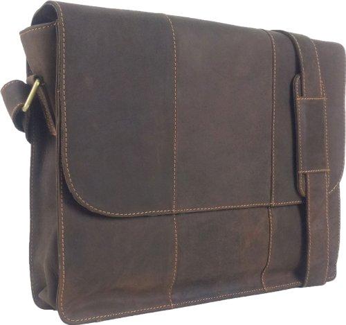Unicorn Vera Pelle Fino 16,4 Pollici Borsa del Computer Portatile Marrone Messenger Bag #7E