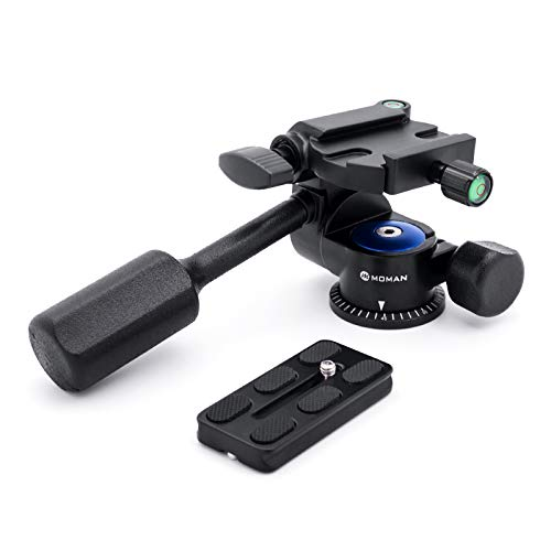 Moman Tripod Fluid Drag Pan Head with Handle and 1/4 Quick Release, Lightweight 3-Ways Panning Ball Head with 22 lb Payload for Tripod Monopod, Slider, DSLR Cameras and Light Stands