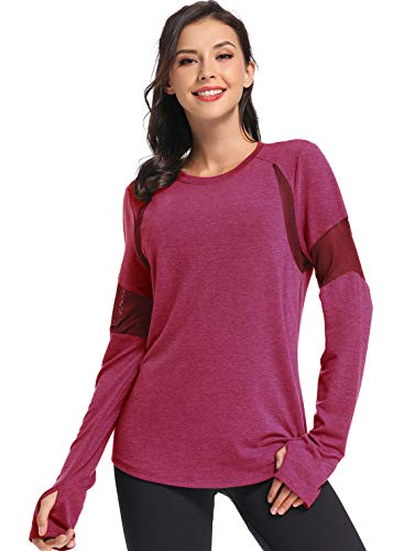 Muzniuer Women's Plain Long Sleeve T Shirt Workout Top Loose Yoga Tops Gym Sports T-Shirt with Thumb Hole Workout Shirts Yoga Tanks Workout Clothes for Women WineRed M