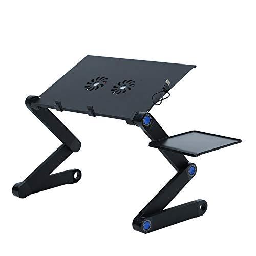 Mesa Ordenador Portatil, Soporte de Portátil, Mesa para Ordenador Base Ajustable y Plegable, Soporte de Ratón con 2 Ventiladores de enfriamiento para Notebook PC Laptop Ordenador