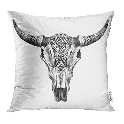 Emvency 16x16 Inch Throw Pillow Covers Decorative Case Black Bull Aztec Longhorn Skull White Cow Tribal Western American Animals Boho Cover Square Pillowcase Cushion Cases Print On Two Sides