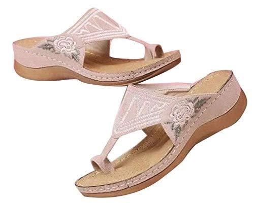 QLIGHA Sandalias de Plataforma cómodas para Mujer, Sandalias de cuña Bordadas con cuña de Cuero de PU, Sandalias Informales de Verano para la Playa, Zapatillas Antideslizantes para Exteriores, Sand