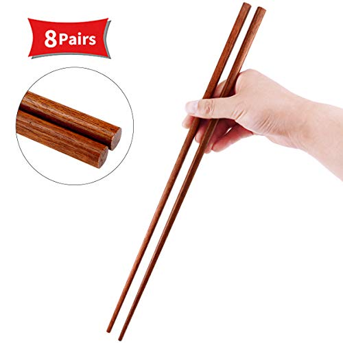 Newbested 8 Pairs 16.5 Inches Cooking Chopsticks,Extra Long Wooden Kitchen Cooking Frying Hot Pot Noodle Chopstick