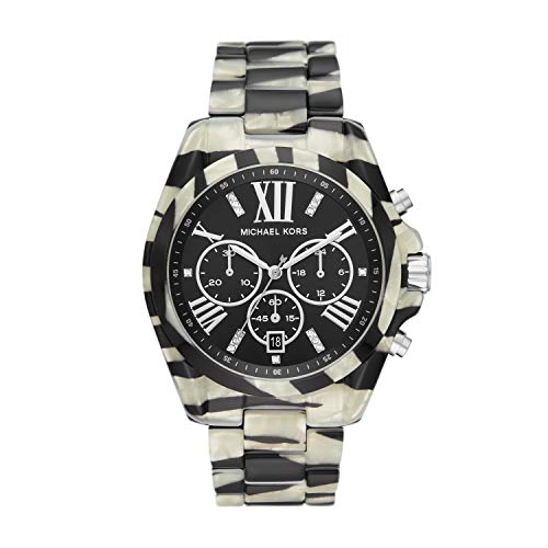 Michael Kors Women's Bradshaw Acetate and Stainless Steel Quartz Watch with Plastic Strap, Multicolor, 22 (Model: MK6888)