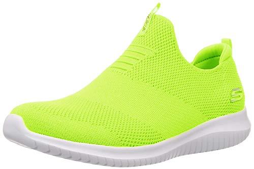 Skechers Damen Ultra Flex Candy Cravings Sneaker, Gelber Neongelber Strickstoff Besatz Nyel, 38 EU