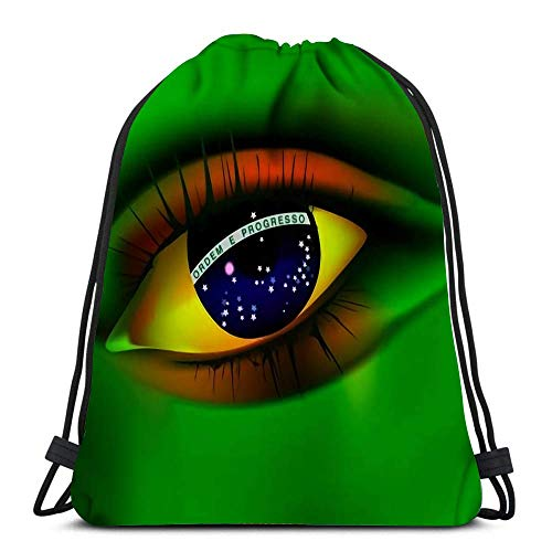 GeorgoaKunk Mochila con cordón Bolsas Eye of Brazil Concept World Cup 2014 Sports Travel Yoga