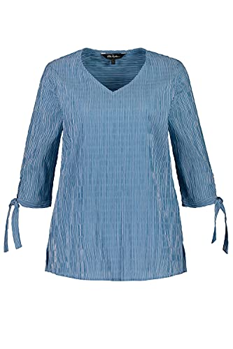 Ulla Popken Damen große Größen Bubbelbluse mit Schleifen am Ärmel Tunika-Shirt, Türkis (Ozeanblau 72748674), 50-52