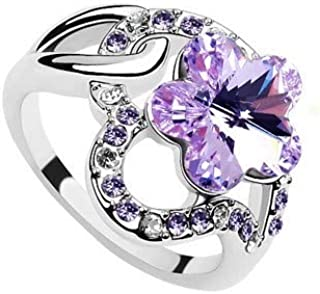 Robella Swarovski Elements Ring Encrusted With Purple Swarovski Crystals ROB-038 Size 6