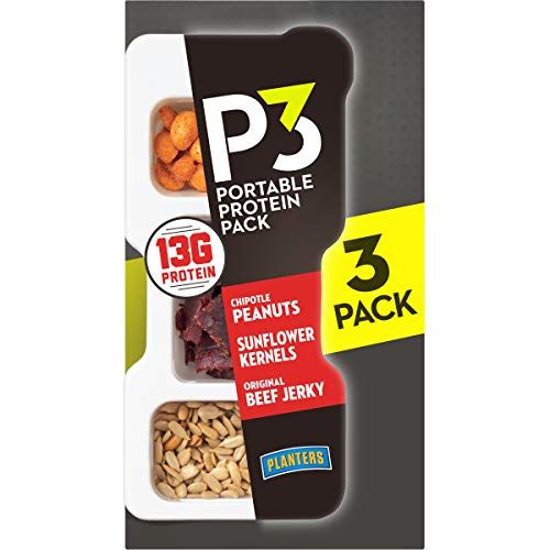 P3 With Chipotle Peanuts, Original Beef Jerky and Sunflower Kernels Portable Protein Pack (12 Trays, 4 Packs of 3)