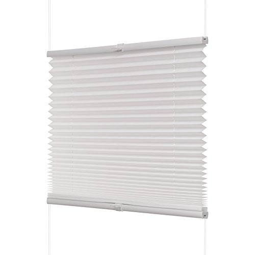 Ventanara Plissee ohne Bohren Weiß Klemmfix Plisseerollo Faltrollo verspannt inklusive Premium Klemmträger 50 x 130 cm