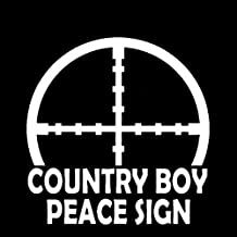 CCI Country Boy Peace Sign Decal Vinyl Sticker|Cars Trucks Vans Walls Laptop| White |5.5 x 5.5 in|CCI524