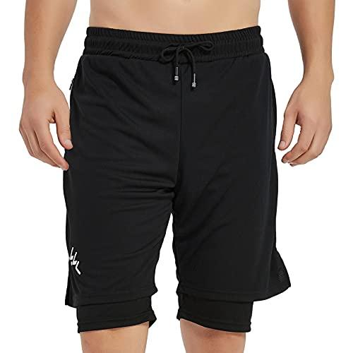 Hombres Pantalónes Cortos de Running 2-en-1, Pantalones Cortos de Atletismo, Pantalones Cortos de Fitness Maratón, Transpirable Pantalones+Secado Rápido