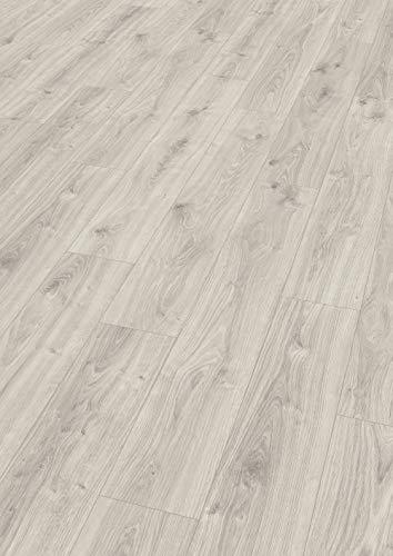 Egger Home Laminatboden EHL140 Zermatt Eiche hell (7mm, 2,494m²)   authentische Holzoptik     Einfache Verlegung durch CLIC It System   Praktisch & wertbeständig, hellgrau