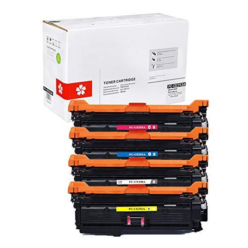 JZMY Cartucho de tóner modelo FC-CE250A CE251A CE252A CE253A para HP CP3525 CP3525n CP3525dn CM3530, alta definición y servicio de alta calidad 4-color Set
