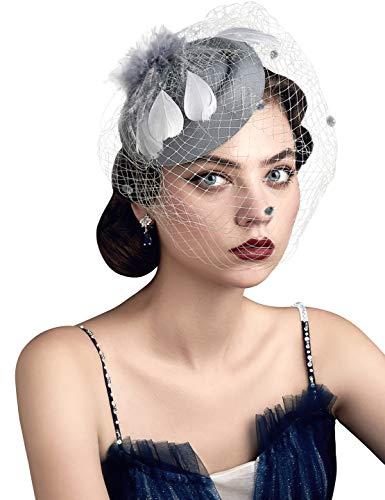 Coucoland Fascinator Pillbox Hat Plumas malla velo tocado flor clip para el pelo tocado nupcial Boda Iglesia Derby Sombreros raza 1920s Flapper Hat (H gris)