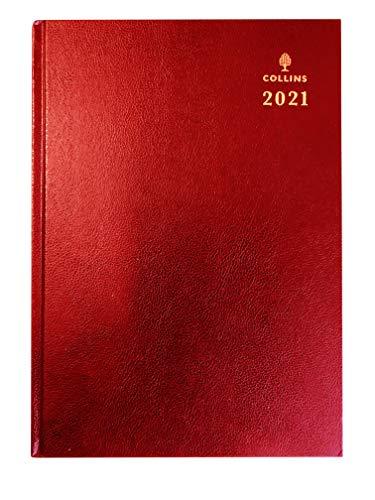 Collins 2021 - Agenda da scrivania, formato A4, con giorno a pagina, colore: Rosso