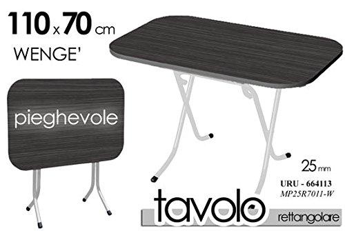 TAVOLO TAVOLINO RICHIUDIBILE RETTANGOLARE PIEGHEVOLE PIANO WENGE' NERO STRUTTURA URU-664113