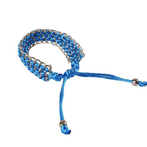 BVCX - Reloj de pulsera de cuerda trenzada de varios colores, 42 mm/46 mm/activo/correa de muñeca con correa de malla de metal (color de la correa: azul claro