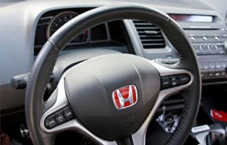 Honda Steering Wheel JDM Type R Emblem Fits Honda Civic City Jazz Brio 2009-2016 (Red)