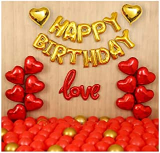 BLOOMSMALL happy birthday love decoration set Combo- Pack of 68 Pcs. with happy birthday foil letter balloons, red latex b...
