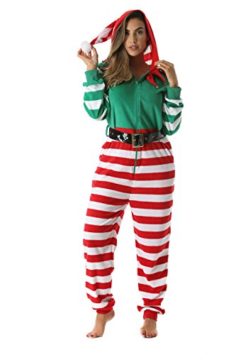 6443-L #FollowMe Adult Onesie / Womens Pajamas, Large, Elf