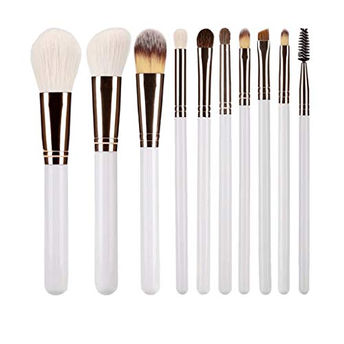 Lot de 10 pinceaux de maquillage professionnels en fibre synthétique bionique pour fond de teint, estomper, poudre, blush, anti-cernes, fard à paupières