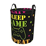Eat Sleep Game Repeat Round Storage Baskets with Handles Collapsible Organizer Bin Laundry Hamper for Dirty Clothes Toys