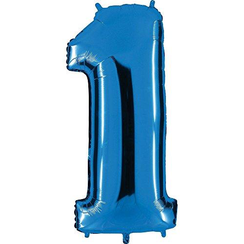 Ballon Zahl in Blau - XXL Riesenzahl 100cm - für Geburtstag Jubiläum & Co - Neun - Party Geschenk Dekoration Folienballon Luftballon Happy Birthday (Zahl 1)