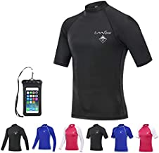 OMGear Rash Guard Swim Shirt Sun Block Short Long Sleeve Surf Tee Adult Kids Snorkeling Suit Swimsuit Top for Kayaking Boating Rafting Outdoors (Black(Short Sleeve), L)