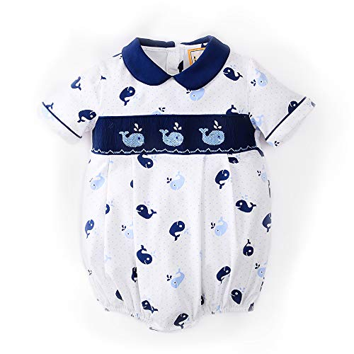 Babeeni BB2063 Smock Whale Navy and White boy Bubble (6M) (Smocked Whale)