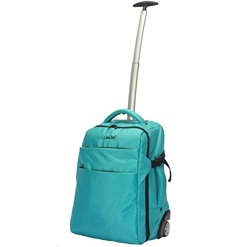 3 in 1 Wheeled Cabin Approved Trolley Travel Bag Flight Backpack Hand Luggage Suitcase Holdall Laptop Bag (Peacock Blue)