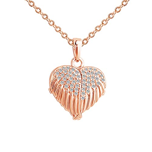 Generic Locket Necklace Heart Shaped Angel Wing Photo Locket Necklace Memory Pendant with Personalized Picture Creative Neck Chain for Women Men, Rose Gold