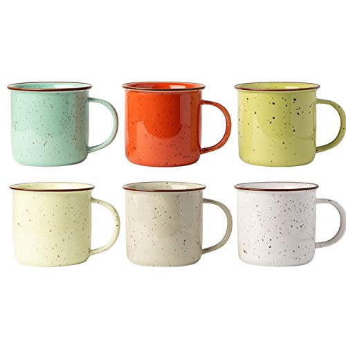 Ceramic Speckled Campfire Mug - Set of 6 Multicolored Coffee Cups - Camping Style Enamel Mug - Decorative Cups - Ideal Camping Mugs - Giftable Box