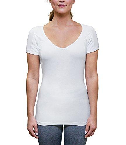 Camiseta feminina à prova de suor com enchimento de suor nas axilas (ajuste slim, decote V profundo), Branco, Medium