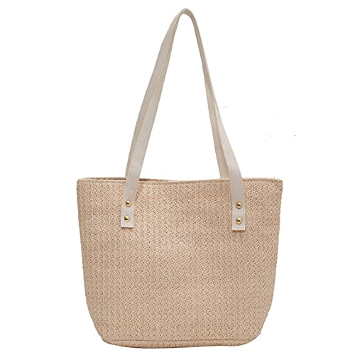 IYUNDUN 2021 Mode Rattan Frauen Umhängetaschen Wicker Woven Weibliche Handtaschen Große Kapazität Sommer Strand Stroh Taschen Casual Tote Geldbörsen (Color : Beige)